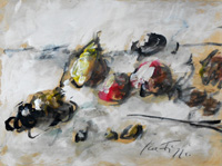 Quadro di  Sergio Scatizzi - Natura morta mélange papier sur tableau