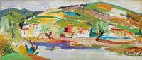 Quadro di  Rodolfo Marma - L'Arno al Girone  Óleos tabla
