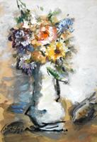 Quadro di  Sergio Scatizzi - Vaso di fiori mixta cartÓn