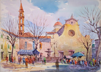 Работы  Giovanni Ospitali - Santo Spirito - Firenze watercolor бумага