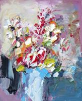 Quadro di  Sergio Scatizzi - Vaso di fiori Óleos tabla
