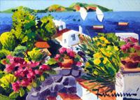 Quadro di  Athos Faccincani - Ginestre a Santorini huile toile