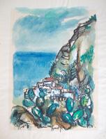 Quadro di  firma Illeggibile - Amalfi aquarelle papier