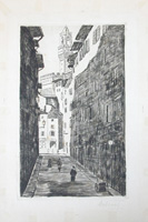 Quadro di firma Illeggibile - Centro storico fiorentino incisione carta