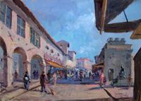 Работы  Mario Poggiali - Sul Ponte Vecchio oil жесткий картон