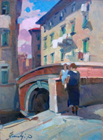 Quadro di  Piero Marchi - Sul Ponte (Li) huile panneaux durs