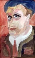 Quadro di Beppe Serafini - Personaggio acquerello carta