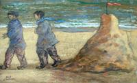 Quadro di  Giampaolo Talani - Un giorno di vento mixta cartÓn