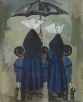 Quadro di  Rodolfo Marma - Monachine e bimbe Óleos tabla