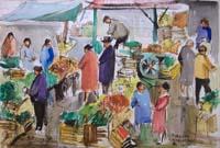 Quadro di  Rodolfo Marma - Mercato di S.Ambrogio (Firenze) acuarela papel