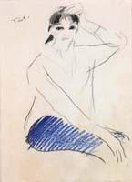 Quadro di  Bruno Paoli - Figura femminile pastel papier