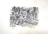 Quadro di  Vinicio Berti - Piazza di Montmartre (89/90) litografía papel