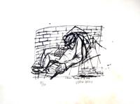 Quadro di  Vinicio Berti - Mendicante nelle scale del metro (89/90) litografía papel