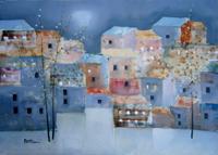 Quadro di  Lido Bettarini - Nevicata con case huile toile