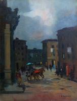Quadro di  Renato Natali - Via della Madonna - Livorno huile tableau