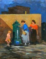 Quadro di  Renato Natali - Bambina e Donne alla Fonte huile tableau