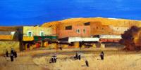 Quadro di  Salvatore Magazzini - Paesaggio egizio huile papier sur tableau
