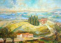 Quadro di  firma Illeggibile - Paesaggio huile tableau