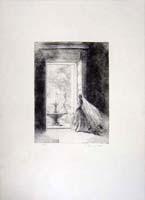 Work of Pietro Annigoni - Figura alla finestra 9/75 lithography paper