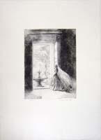 Quadro di  Pietro Annigoni - Figura alla finestra 9/75 lithographie papier