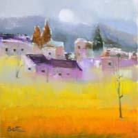 Quadro di  Lido Bettarini - Campo di grano con case huile toile