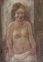 Quadro di Ermanno Toschi  - Figura olio tavola