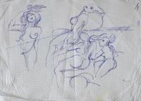Quadro di  Claude Falbriard - Figure femminili pluma papel