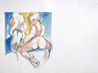 Quadro di  Claude Falbriard - Nudi mixta papel