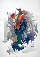 Работы  Gino Tili - Vaso d fiori watercolor бумага