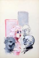 Quadro di  Umberto Bianchini - Rosa e Grigio détrempe carton