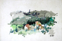 Работы  Gino Tili - Paesaggio watercolor бумага