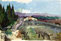 Quadro di  Gino Tili - Paesaggio toscano temple papel