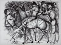 Quadro di P. Malato - Figure con cavallo litografia carta