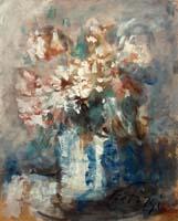 Quadro di  Sergio Scatizzi - Vaso con fiori bianchi acuarela papel