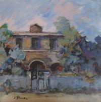 Quadro di  Umberto Bianchini - Casa e viale mélange panneaux durs