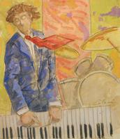 Quadro di  Giampaolo Talani - Musicista mélange carton