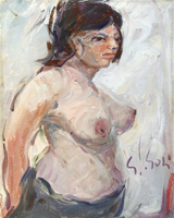 Quadro di  Gino Paolo Gori - Nudo, Meditazione huile toile