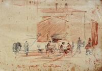 Quadro di  Gino Paolo Gori - In piazza mélange papier