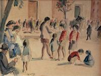 Quadro di  Rodolfo Marma - In Santo Spirito acuarela papel sobre tela