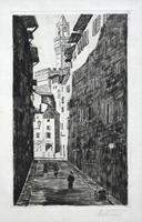 Quadro di  firma Illeggibile - Scorcio fiorentino lithographie papier