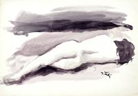 Quadro di  Gino Tili - Nudo di schiena acuarela papel