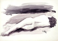 Работы  Gino Tili - Nudo di schiena watercolor бумага