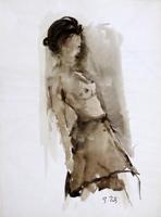 Quadro di  Gino Tili - Nudo appoggiato acuarela papel