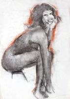 Работы  Gino Tili - Nudo seduto pastel бумага