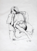 Quadro di  Gino Tili - Figura seduta china papel