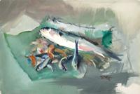 Quadro di  Gino Tili - Natura morta con pesci temple papel