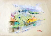 Работы  Gino Tili - Borgo antico pastel бумага