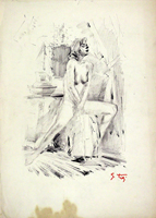 Quadro di  Gino Tili - Nudo pastel papel