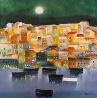 Quadro di  Lido Bettarini - Marina con case huile toile