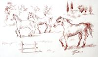 Quadro di  Luigi Pignataro - Cavalli pastel papel